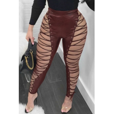 Lovely Fashion High Elastic Waist Lace-up Hollow-out Wine Red Leather Pants