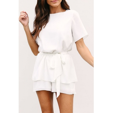 Lovely Fashion Round Neck Drawstring White Chiffon One-piece Short Jumpsuits