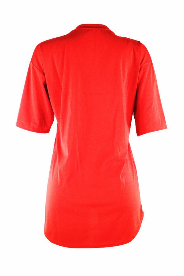 Милые Случайные Круглые Шеи Письма Напечатаны Красное Мини-платье Полиэфира