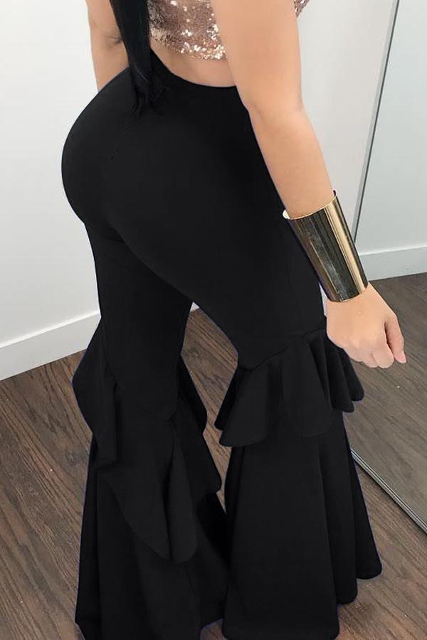 Lovelyeuramerican Cintura Alta Falbala Diseño Negro Qmilch Pantalones