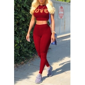 Lovely Casual Round Neck Short Sleeves Letters Printed Wine Red Cotton Blends Two-Piece Pants Set