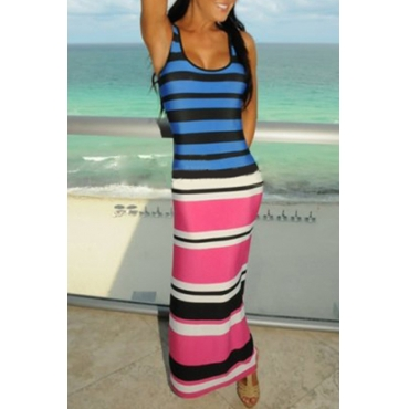 Lovely Casual U Neck Sleeveless Striped Patchwork Polyester Ankle Length Dress