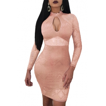 Lovely Sexy Round Neck See-Through Hollow-out Pink Lace Sheath Mini Dress