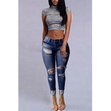 LovelyStylish High Waist Broken Holes Dark Blue Denim Jeans