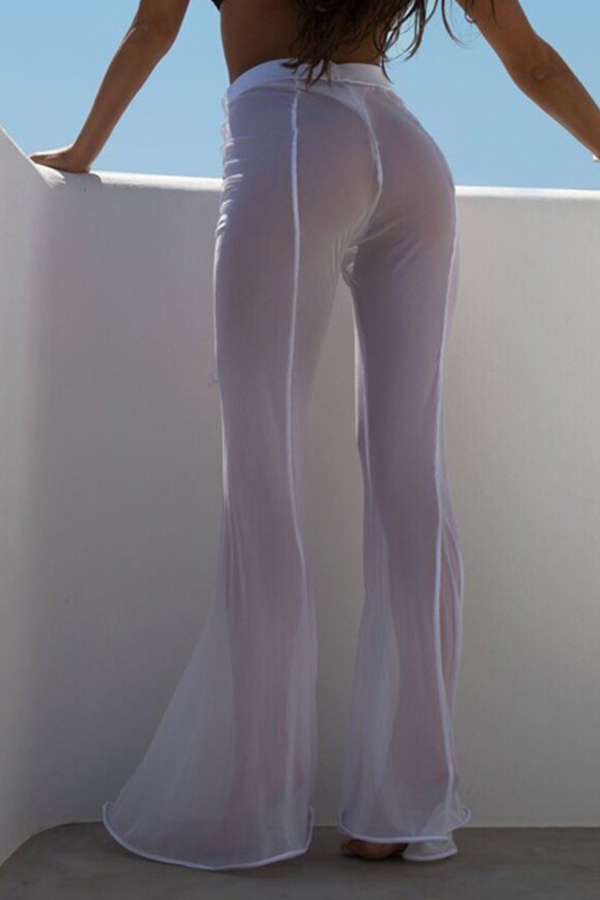 Lovely Sexy High Elastic Waist Mesh Hollow-out Flared White Polyester Pants(Without Briefs)