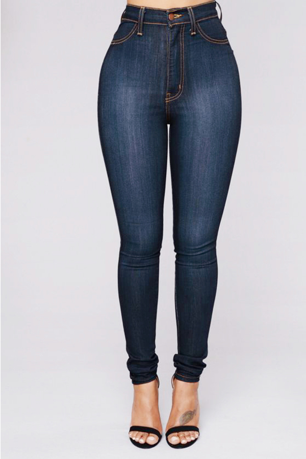 Moda Adorável E Alta Cintura Jeans Azul Profundo Jeans