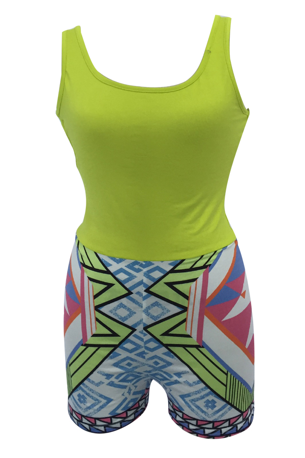 Lovely Casual U Neck Backless Geometric Printed Yellow Polyester One-piece Short Jumpsuits