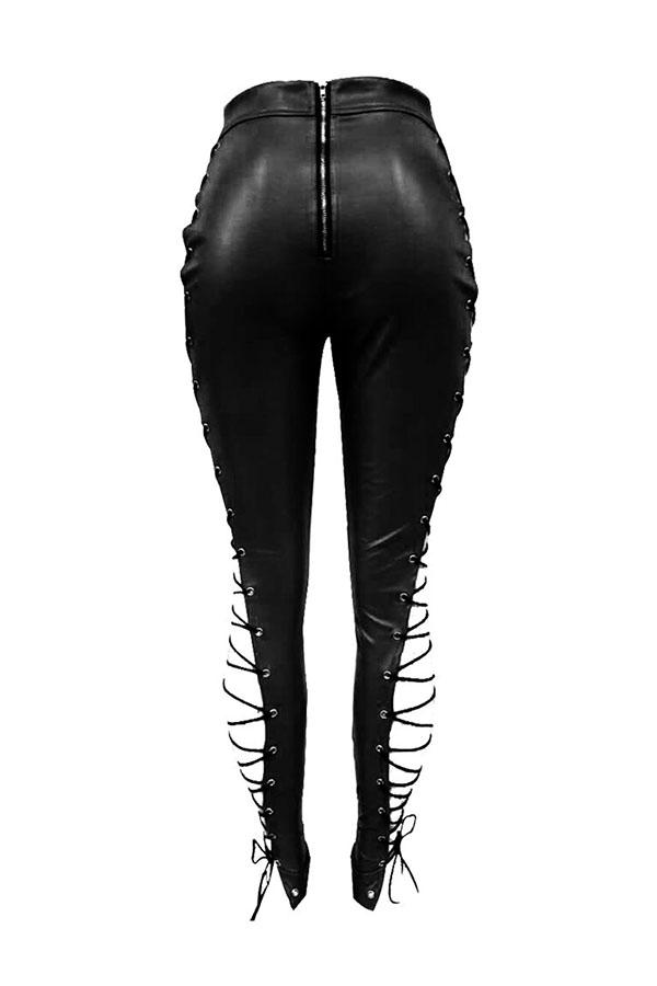 Lovelyfashion Cintura Alta Elástica Con Cordones Pantalones De Cuero Negros Ahuecados