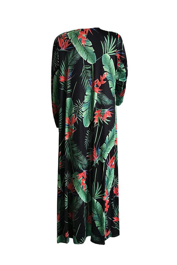 Bella Stampa Sexy Allacciata Costumi Da Bagno Interi In Poliestere + Spandex Verde (con Cover-up)