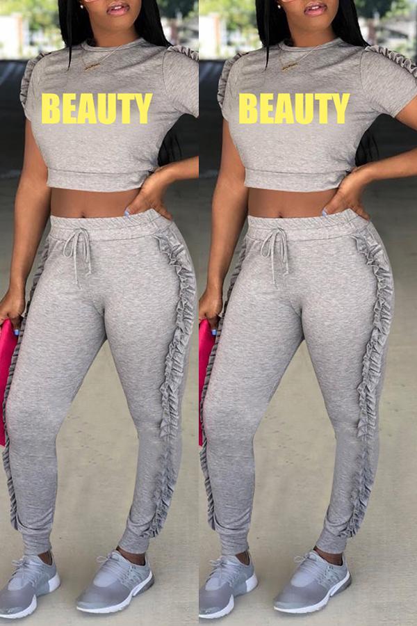 Precioso Conjunto De Pantalones De Dos Piezas De Poliéster Gris Redondo Casual Dobladillo