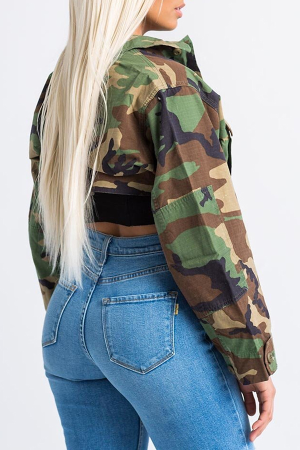 Lovely Trendy Turndown Collar Long Sleeves Single Breasted Camouflage Cotton Blends Short Coat