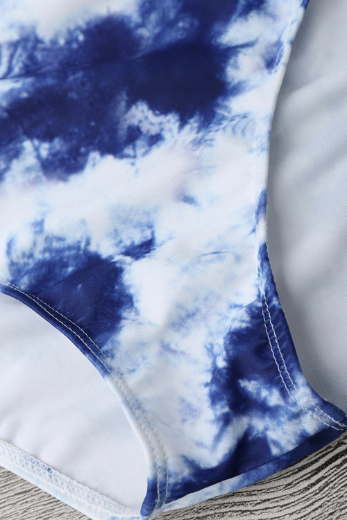 Lovely  Sexy Lace-up Hollow-out Cloud Printed Blue Polyester+Spandex Two-piece Swimwears