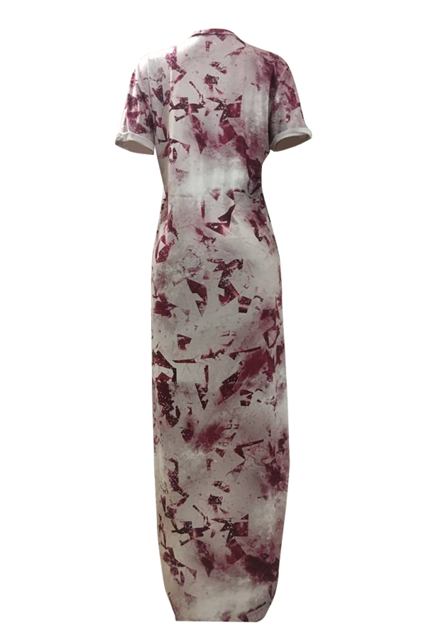Lovely Trendy Printed Asymmetrical Red Milk Fiber Ankle Length Dress
