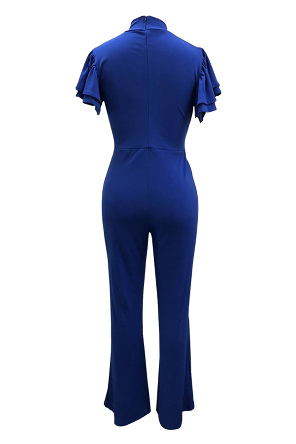 Lovely  Sexy Round Neck Ruffle Hollow-out Royalblue Polyester One-piece Jumpsuits(With Belt)