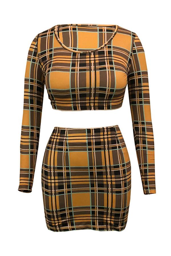 Precioso Conjunto De Falda De Dos Piezas De Poliéster Amarillo A Cuadros De Cuello Redondo Estampado A Cuadros