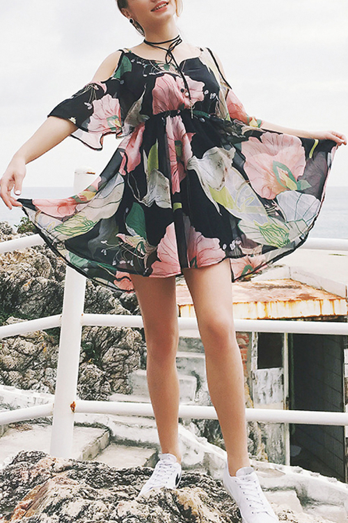 Lovely Casual Dew Shoulder Flounce Floral Printed Black Chiffon Mini Dress