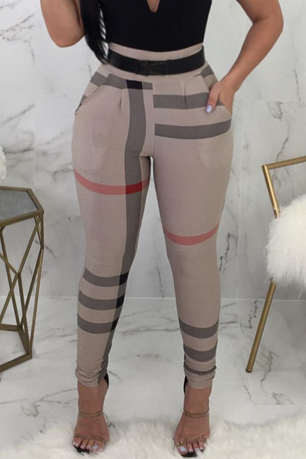 Lovely Fashion High Elastic Waist Irregular Striped Printed Pants(Without Belt,Batch Print)