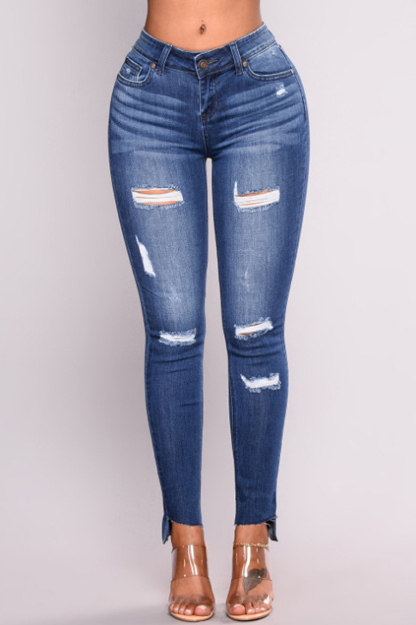 Lovely Fashion Mid Waist Broken Holes Blue Denim Zipped Jeans