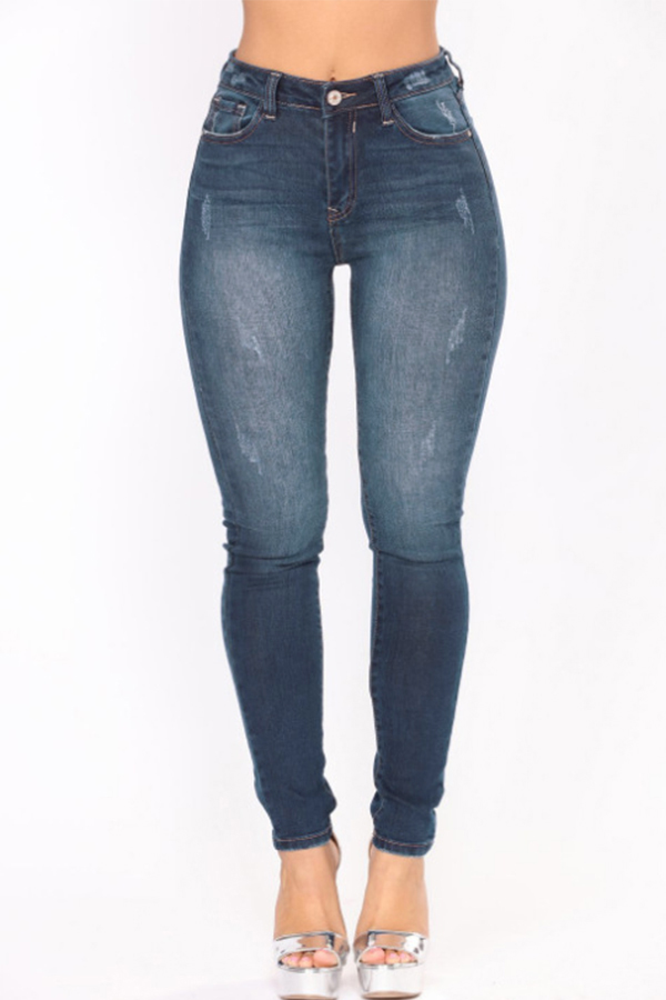 Lovely Fashion Mid Waist Dark Blue Denim Zipped Jeans