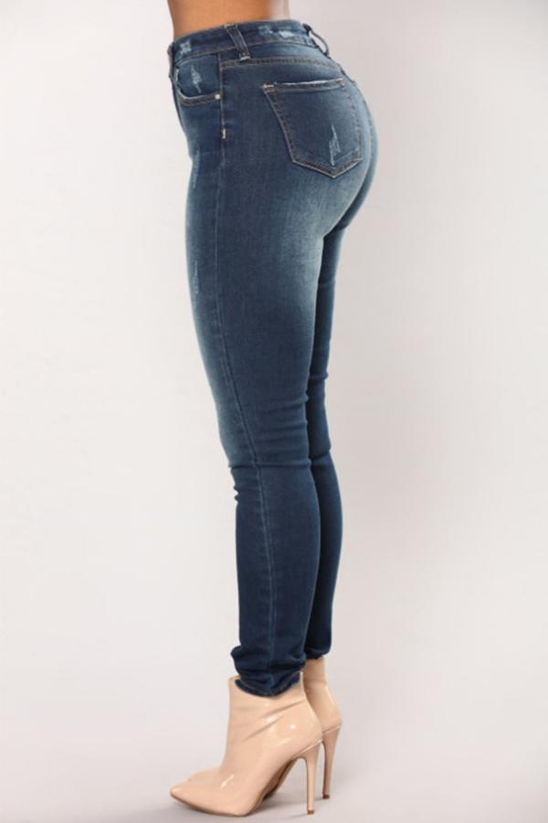 Lovely Fashion Mid Waist Dark Blue Denim Zipped Jeans