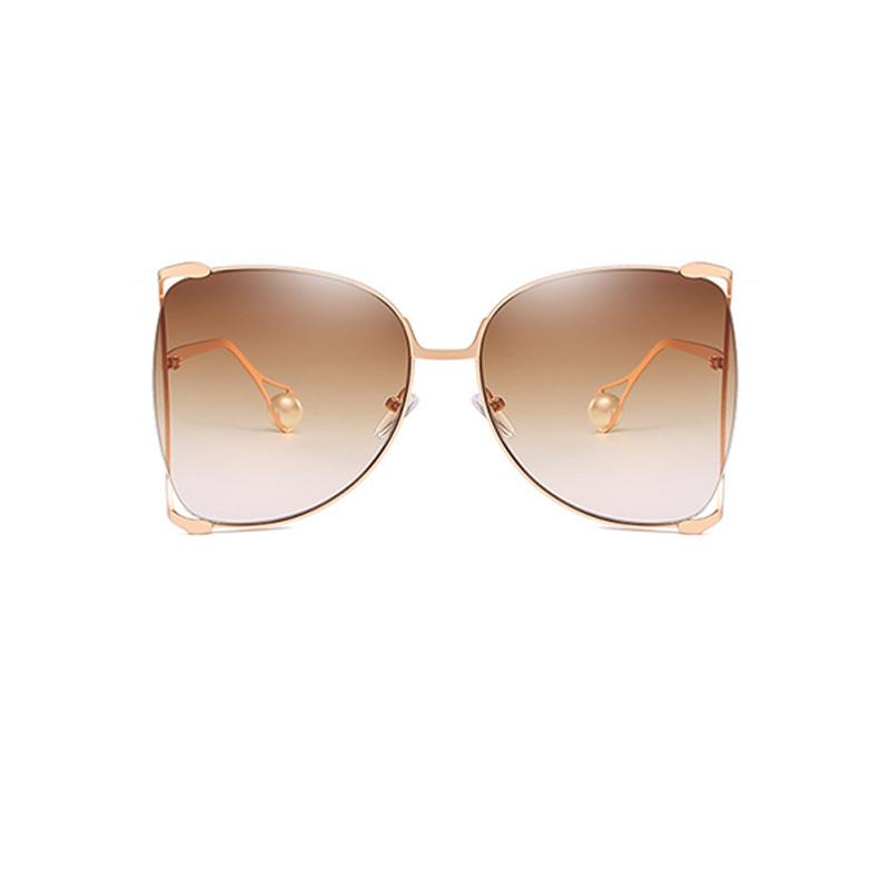 Lovely Fashion Pearl Decoration Khaki PC Sunglasses