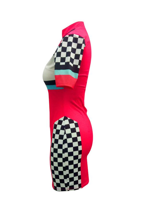 Precioso Vestido De Mandarina Sexy Patchwork Rojo Tela Saludable Vaina Mini Vestido