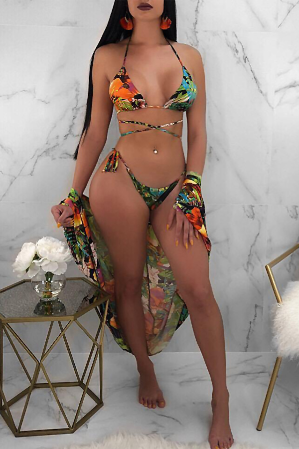 Lovely Sexy Lace-up Floral Printed Green Polyester Two-piece Swimwears(With Cover-ups)