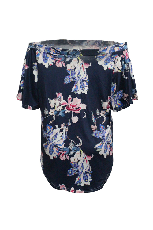 Lovely Trendy Bateau Neck Flared Sleeves Floral Printed Dark Blue Blending Shirts