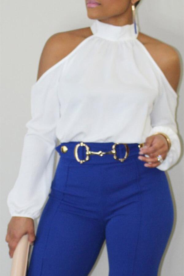 Collar De Mandarina De Moda Encantadora Camisas De Poliéster Blanco De Hombro Frío