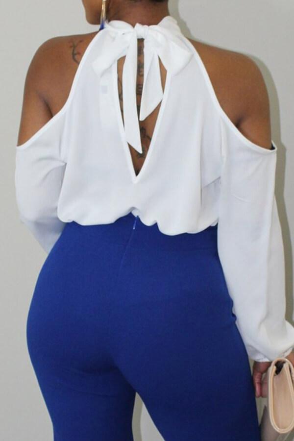 Camisas De Poliéster Blancas Con Cuello En Forma De Mandarina De Moda Encantadora