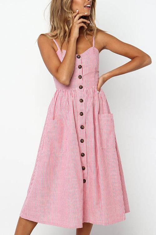 Lovely Fashion Spaghetti Strap Sleeveless Single Breasted Pink Blending Mid Calf Dress