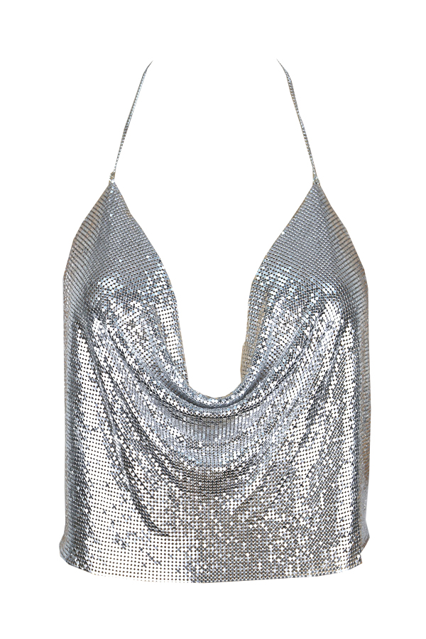 LovelySexy V Neck Backless Sequins Decoration Silver Polyester Tank Top(Without Accessories)