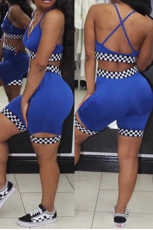 Lovelysexy Scollo A V Plaid Stampato Pantaloncini In Poliestere Blu A Due Pezzi