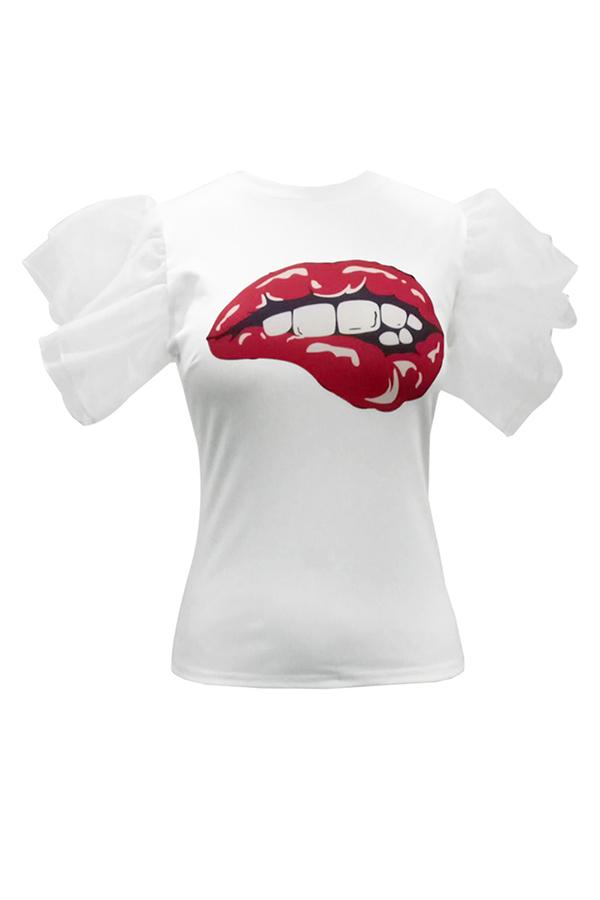 Encantador Moda Cuello Redondo Volantes Dibujos Animados Impreso Blanco Poliéster Camiseta