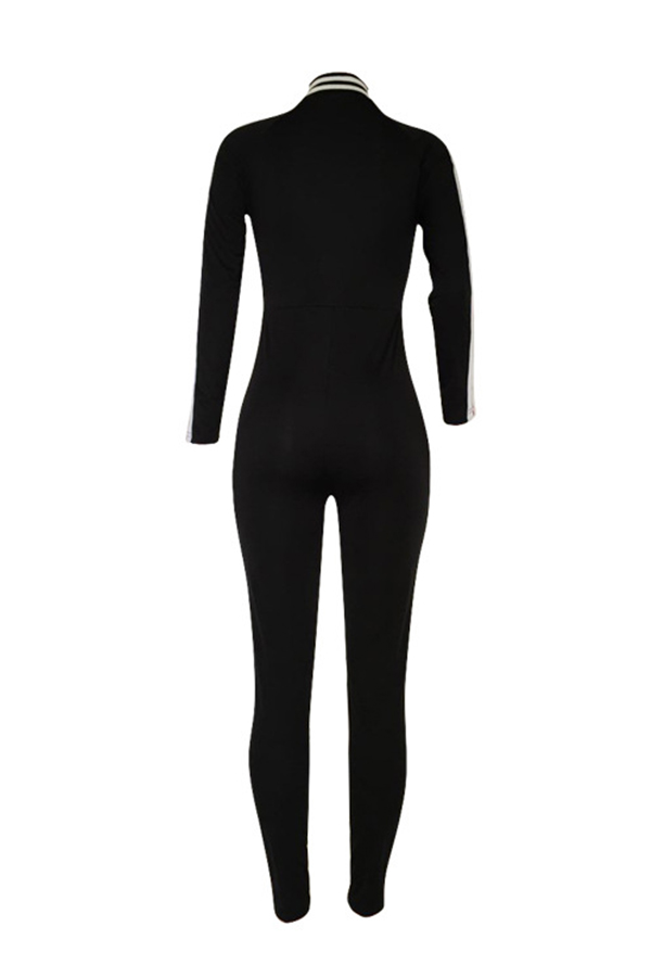 LovelySexy V Neck Striped Patchwork Black Cotton Blends One-piece Jumpsuits
