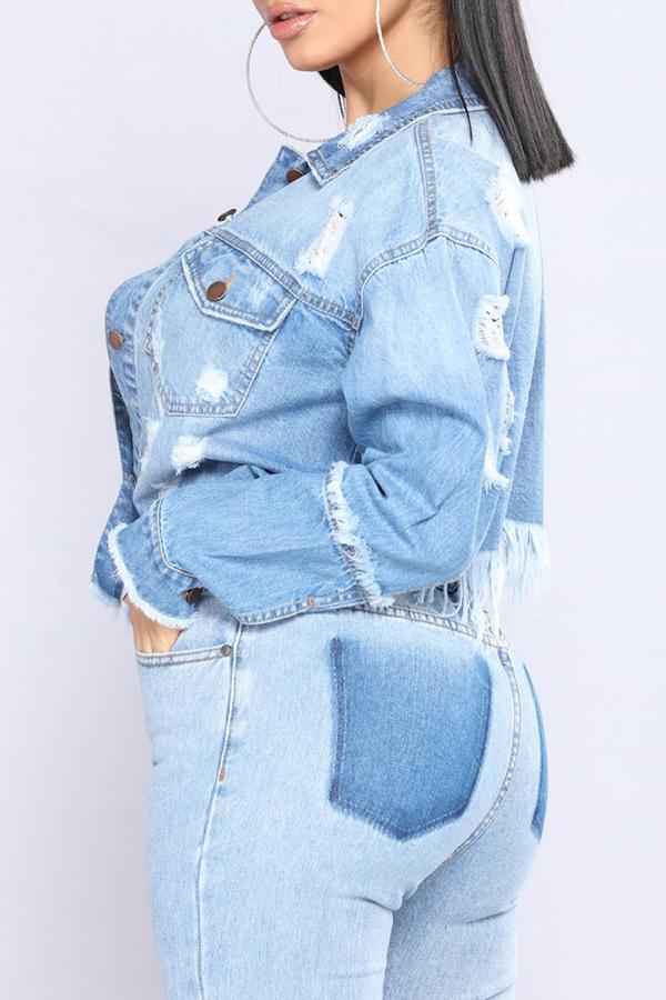 Lovely Trendy Turndown Collar Worn Out Design Fringe Tassels Baby Blue Denim Coat
