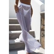 Calças De Poliéster Brancas Alargadas E Cintilantes De Alta Elasticidade E Alta Cintura (sem Cuecas)