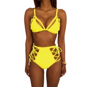 Lovely Fashion Lace-up Hollow-out Yellow Polyester Two-piece Swimwears