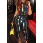 Lovely Sexy Round Neck Ruffle Striped Patchwork Blue Polyester One-piece Jumpsuits