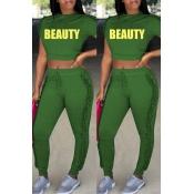 Reizendes Beiläufiges Rundes Faltenentwurfsgrün-Polyester Zweiteilige Hosen Eingestellt