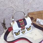 Reizender Chicschmetterling Dekorative Haspendesign Weiße PU-Clutches-Tasche