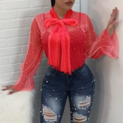 Lovely Fashion Turtleneck See-Through Nailed Pearl Bow Tie Red Polyester Shirts(Without Subcoating)