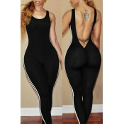 Lovely Sexy Round Neck Backless Striped Black Polyester One-piece Jumpsuits