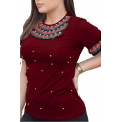 Lovely Casual Round Neck Short Sleeves Pearl Decoration Wine Red Cotton T-shirt