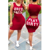 Lovely Leisure Round Neck Letters Printed Red Healthy Fabric Sheath Mini Dress