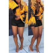 Lovely Trendy Bateau Neck Flared Sleeves Printing Black Polyester Two-piece Shorts Set