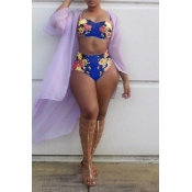 Lovely Sexy Printed Royalblue Polyester Two-piece Swimwear (Without Shawl)