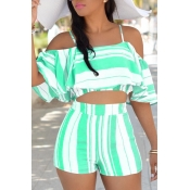Lovely Sexy Spaghetti Strap Sleeveless Striped Green Polyester Two-piece Shorts Set