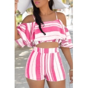 Lovely Sexy Spaghetti Strap Sleeveless Striped Pink Polyester Two-piece Shorts Set