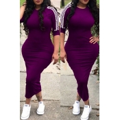 Lovely Sexy Round Neck Striped Purple Polyester Sheath Mid Calf Dress